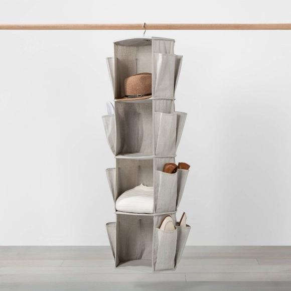 Hanging Spinning Closet Organizer w Shoe Storage